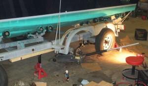 Trailer repair - axle springs being replaced