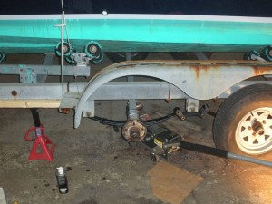 Trailer repair - axle springs being replaced